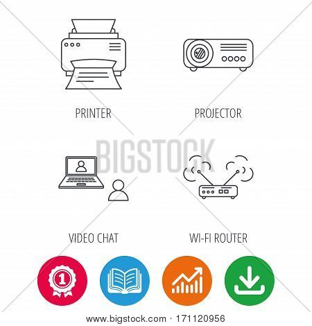 Projector, printer and wi-fi router icons. Video chat linear sign. Award medal, growth chart and opened book web icons. Download arrow. Vector
