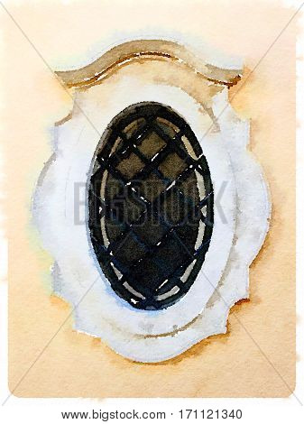 Digital watercolor painting of a decorative oval window in Lisbon in Portugal.