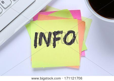 Info Information Message News Announcement Announce Desk