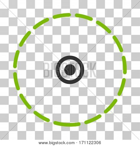 Round Area icon. Vector illustration style is flat iconic bicolor symbol eco green and gray colors transparent background. Designed for web and software interfaces.