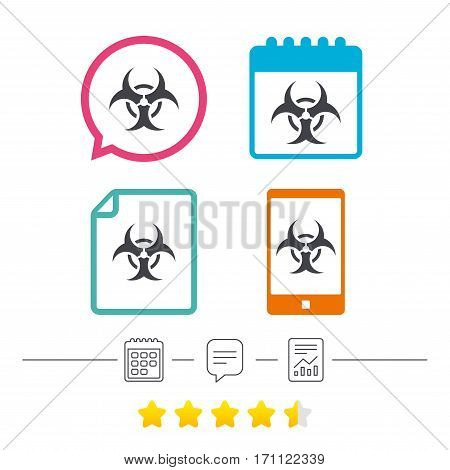 Biohazard sign icon. Danger symbol. Calendar, chat speech bubble and report linear icons. Star vote ranking. Vector