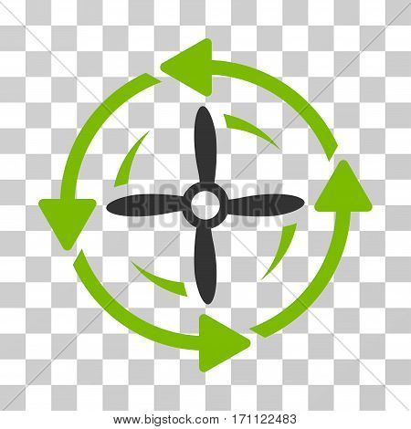 Screw Rotation icon. Vector illustration style is flat iconic bicolor symbol eco green and gray colors transparent background. Designed for web and software interfaces.
