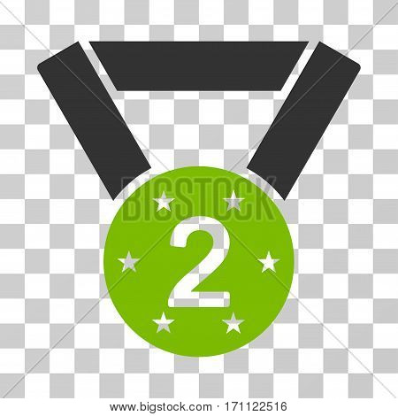 Second Medal icon. Vector illustration style is flat iconic bicolor symbol eco green and gray colors transparent background. Designed for web and software interfaces.
