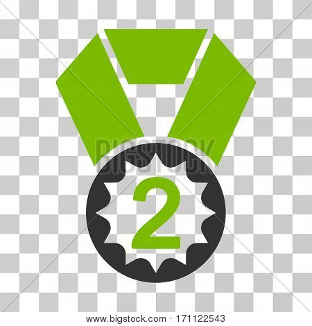 Second Place icon. Vector illustration style is flat iconic bicolor symbol eco green and gray colors transparent background. Designed for web and software interfaces.