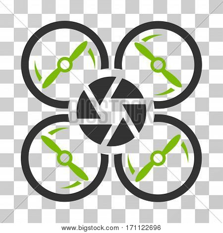 Shutter Drone icon. Vector illustration style is flat iconic bicolor symbol eco green and gray colors transparent background. Designed for web and software interfaces.