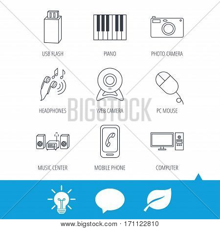 Smartphone, web camera and USB flash icons. Headphones, piano and photo camera linear signs. Computer, music center icons. Light bulb, speech bubble and leaf web icons. Vector