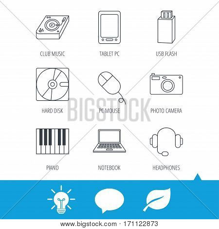 Tablet PC, USB flash and notebook laptop icons. Club music, hard disk and photo camera linear signs. Piano, headphones icons. Light bulb, speech bubble and leaf web icons. Vector