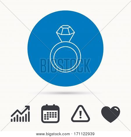 Engagement ring icon. Jewellery with diamond sign. Calendar, attention sign and growth chart. Button with web icon. Vector