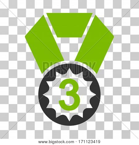 Third Place icon. Vector illustration style is flat iconic bicolor symbol eco green and gray colors transparent background. Designed for web and software interfaces.