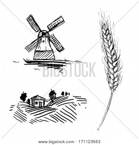 hand drawn illustration with mill, farm and wheat sketches. vector set