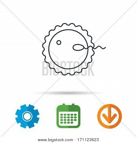 Fertilization icon. Pregnancy sign. Spermatozoid and egg symbol. Calendar, cogwheel and download arrow signs. Colored flat web icons. Vector