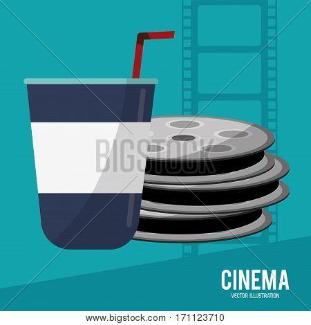 cinema film reel soda disposable vector illustration eps 10