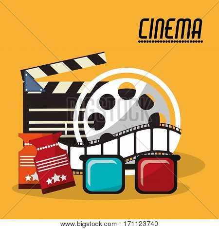 collection cinema film reel strip glasses and tickets vector illustration eps 10