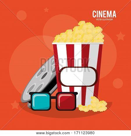cinema pop corn box glasses and reel film vector illustration eps 10
