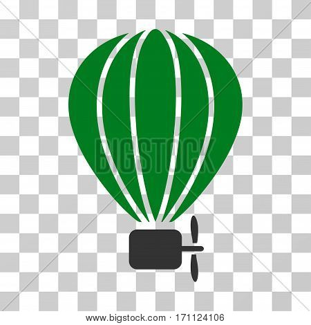 Aerostat Balloon icon. Vector illustration style is flat iconic bicolor symbol green and gray colors transparent background. Designed for web and software interfaces.