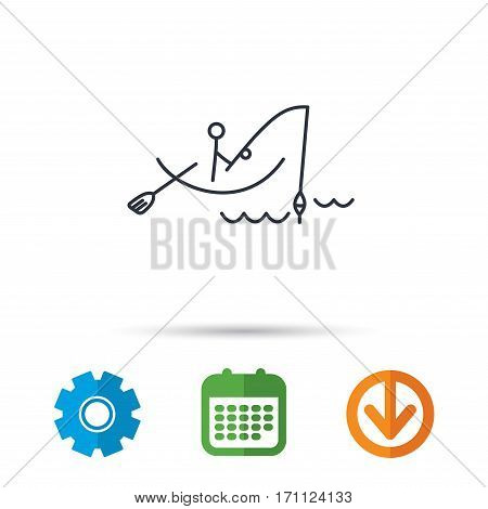 Fishing icon. Fisherman on boat in waves sign. Spinning sport symbol. Calendar, cogwheel and download arrow signs. Colored flat web icons. Vector