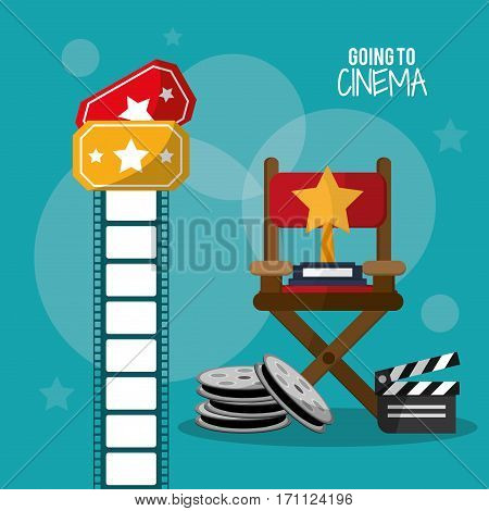 going to cinema reel clapper film strip and tickets vector illustration eps 10