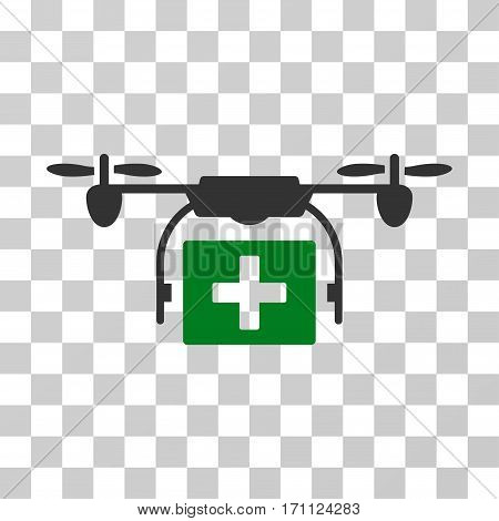 Ambulance Drone icon. Vector illustration style is flat iconic bicolor symbol green and gray colors transparent background. Designed for web and software interfaces.