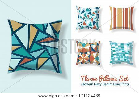 Set Of Throw Pillows In Matching Unique Vintage Abstract Geometric Triangles Seamless Patterns. Square Shape. Editable Vector Template. Surface Pattern Textile Design.
