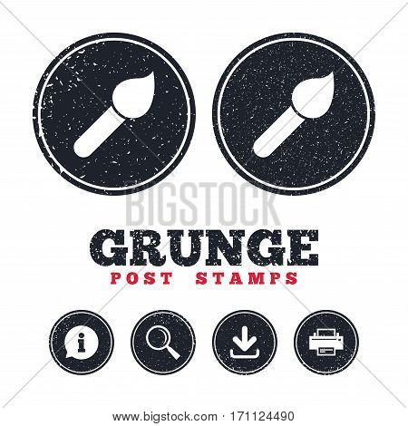 Grunge post stamps. Paint brush sign icon. Artist symbol. Information, download and printer signs. Aged texture web buttons. Vector
