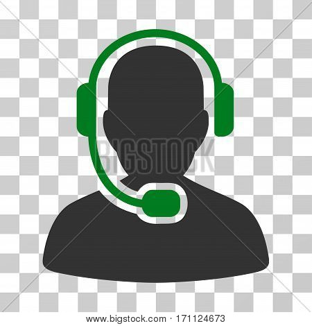 Call Center Operator icon. Vector illustration style is flat iconic bicolor symbol green and gray colors transparent background. Designed for web and software interfaces.