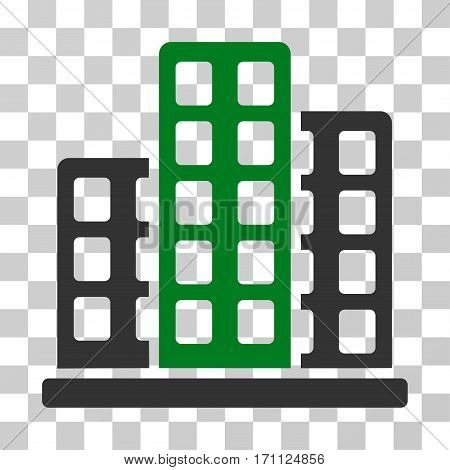 City icon. Vector illustration style is flat iconic bicolor symbol green and gray colors transparent background. Designed for web and software interfaces.