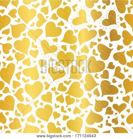 Vector Golden Hearts Seamless Pattern Design Perfect for Valentine's Day cards, fabric, scrapbooking, wallpaper. Textile design.