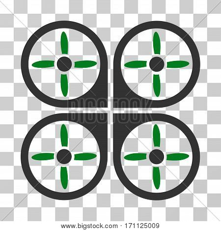 Copter icon. Vector illustration style is flat iconic bicolor symbol green and gray colors transparent background. Designed for web and software interfaces.