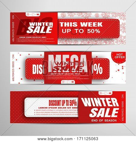 Vector set of Seasonal winter sale banners on the red and white background with snowflakes pattern and card insert.