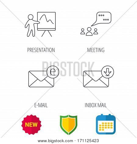 Mail, presentation and meeting chat bubbles icons. E-mail linear sign. Shield protection, calendar and new tag web icons. Vector