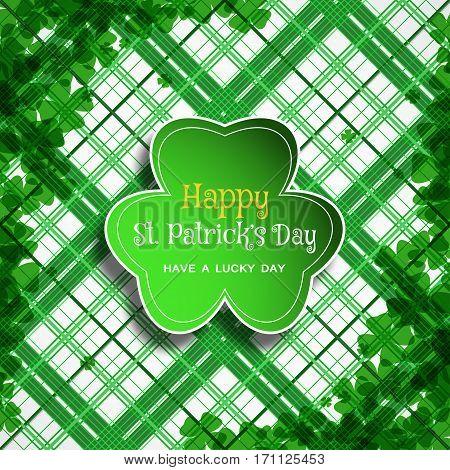 Vector Happy St. Patrick's Day poster on the white and green line pattern background leaf of clover shape cut from paper shadow text and clover leaves arranged at corners.