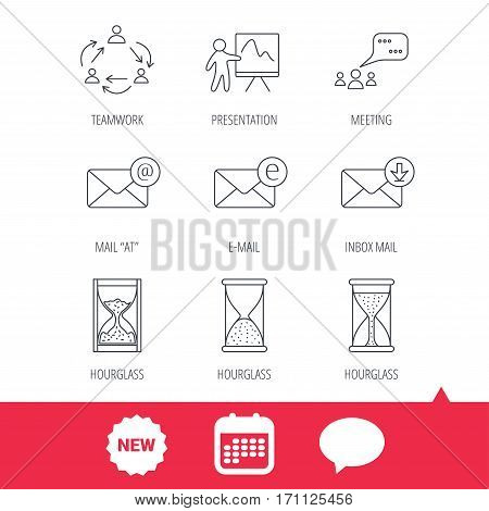 Teamwork, presentation and meeting chat bubbles icons. E-mail inbox, hourglass linear signs. New tag, speech bubble and calendar web icons. Vector