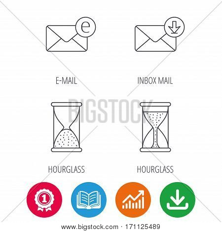 Hourglass, inbox mail and e-mail icons. Hourglass linear sign. Award medal, growth chart and opened book web icons. Download arrow. Vector