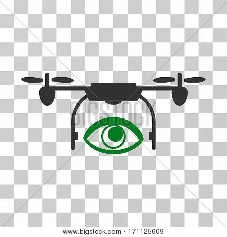 Eye Spy Drone icon. Vector illustration style is flat iconic bicolor symbol green and gray colors transparent background. Designed for web and software interfaces.