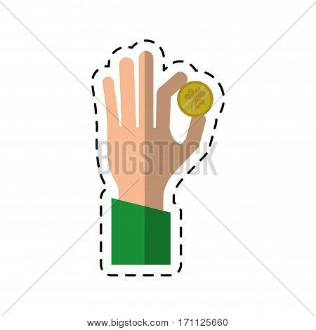 cartoon st patricks day hand holding coin clover vector illustration eps 10