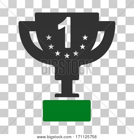 First Prize Cup icon. Vector illustration style is flat iconic bicolor symbol green and gray colors transparent background. Designed for web and software interfaces.