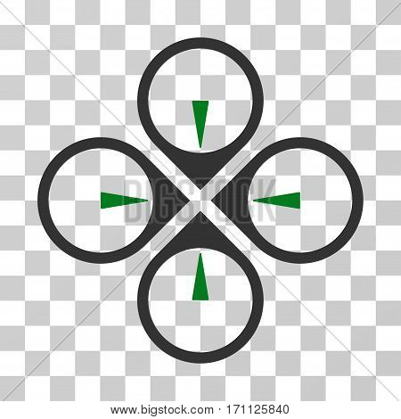 Fly Drone icon. Vector illustration style is flat iconic bicolor symbol green and gray colors transparent background. Designed for web and software interfaces.