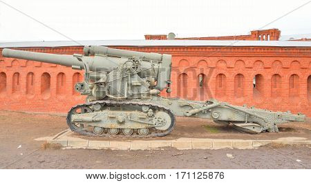 Howitzer field artillery gun from Word War Two in Museum of Artillery Engineers and Signal Corps in St.Petersburg Russia.