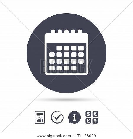 Calendar icon. Event reminder symbol. Report document, information and check tick icons. Currency exchange. Vector