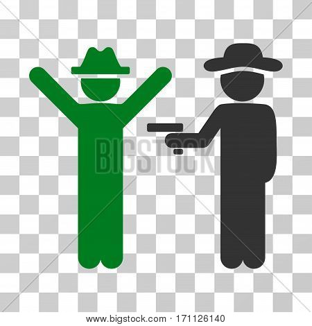 Gentleman Crime icon. Vector illustration style is flat iconic bicolor symbol green and gray colors transparent background. Designed for web and software interfaces.