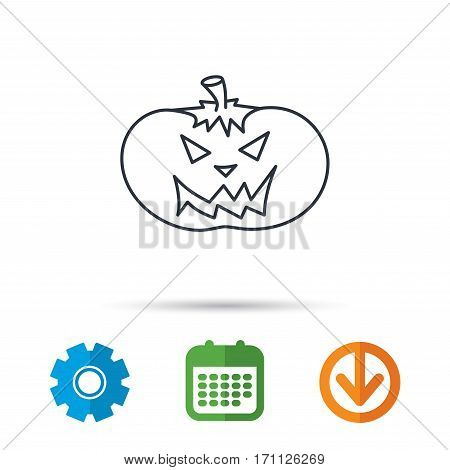 Halloween pumpkin icon. Scary smile sign. Calendar, cogwheel and download arrow signs. Colored flat web icons. Vector