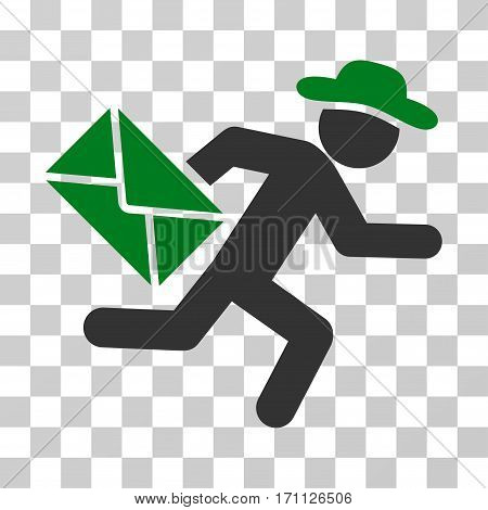 Gentleman Mail Courier icon. Vector illustration style is flat iconic bicolor symbol green and gray colors transparent background. Designed for web and software interfaces.