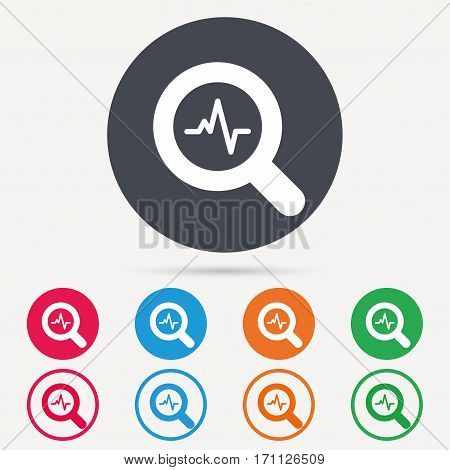 Heartbeat in magnifying glass icon. Cardiology symbol. Medical pressure sign. Round circle buttons. Colored flat web icons. Vector