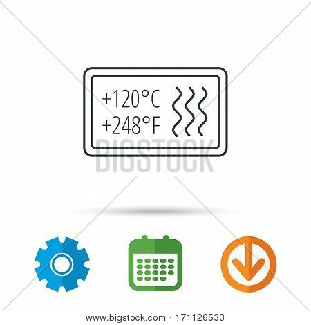Heat resistant icon. Microwave or dishwasher information sign. Attention symbol. Calendar, cogwheel and download arrow signs. Colored flat web icons. Vector