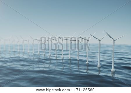 White wind turbine generating electricity in sea, ocean. Clean energy, wind energy, ecological concept, 3d rendering