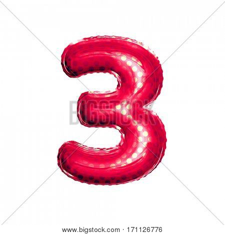 Metallic Red with Gold balloon number 3 Three on white background