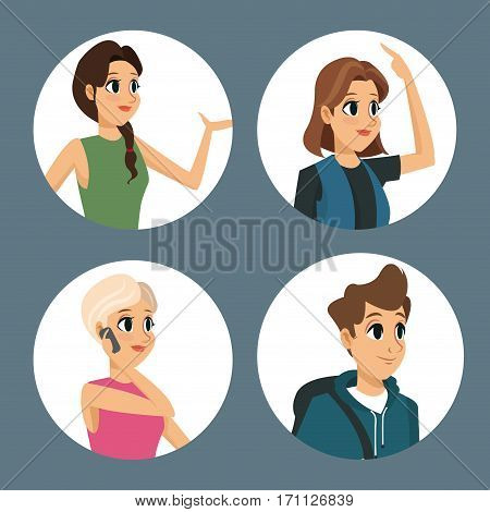 group people communication dialog round icons vector illustration eps 10