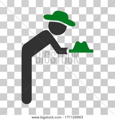 Gentleman Servant icon. Vector illustration style is flat iconic bicolor symbol green and gray colors transparent background. Designed for web and software interfaces.