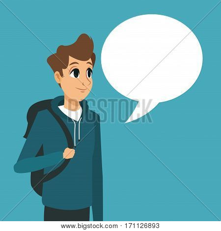 young guy backpack with bubble speech vector illustration eps 10