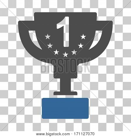 First Prize Cup icon. Vector illustration style is flat iconic bicolor symbol cobalt and gray colors transparent background. Designed for web and software interfaces.